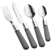 Frosted Handle Cutlery Black 16pce
