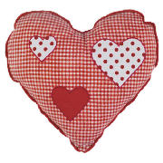 Kids Embroidered Heart Gingham Cushion,