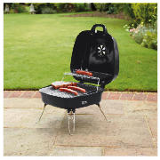 Square portable suitcase charcoal bbq black