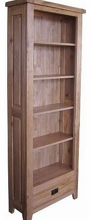 BALMORAL Natural Oak Rustic Farmhouse / Country Cottage Tall 5 Shelf Bookcase with Ring Handle Drawer