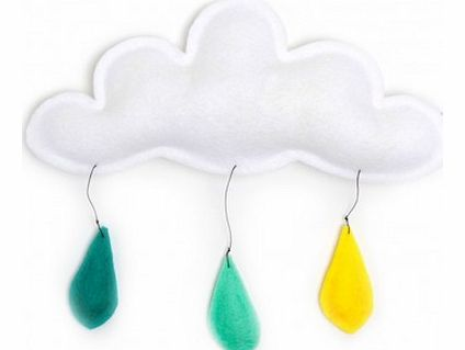 Cloud mobile rain of color yellow/mint/turquoise