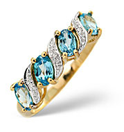 Blue Topaz and 0.01CT Diamond Ring 9K Yellow Gold