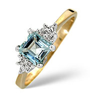 Blue Topaz and 0.02CT Diamond Ring 9K Yellow Gold