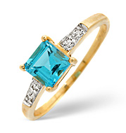 Blue Topaz and 0.03CT Diamond Ring 9K Yellow Gold