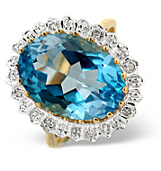 Blue Topaz and 0.04CT Diamond Ring 9K Yellow Gold