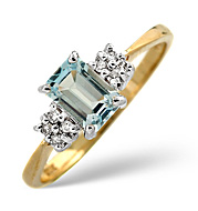 Blue Topaz and 0.06CT Diamond Ring 9K Yellow Gold