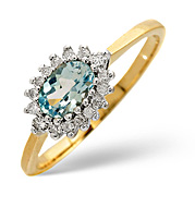 Blue Topaz and 0.14CT Diamond Ring 9K Yellow Gold