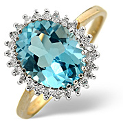 Blue Topaz and 0.20CT Diamond Ring 9K Yellow Gold