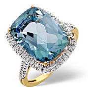 Blue Topaz and 0.22CT Diamond Ring 9K Yellow Gold