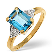 Blue Topaz and Diamond Ring 9K Yellow Gold