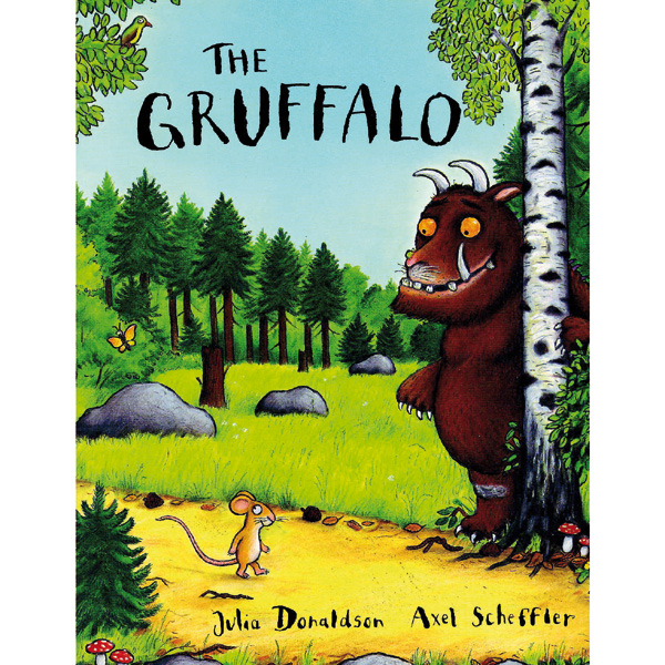 examing the picture book the gruffalo The gruffalo's child then sneaks out while her father is asleep and goes through a series of encounters with the animals of the previous book: the snake, the owl, the fox and, finally, the mouse, who scares her into running back to the safety of her father's cave.