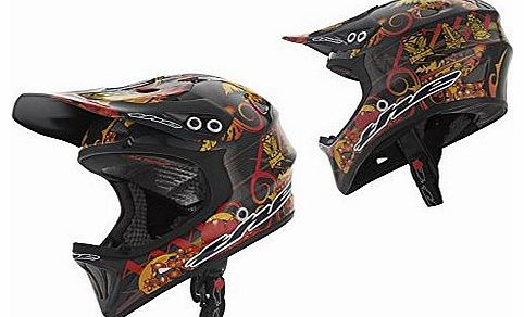 T2 BMX / MTB DH Full Face Carbon Helmet Large Tiki Torch