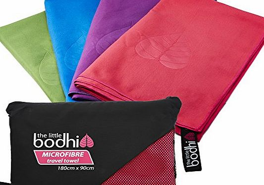 The Little Bodhi Microfibre Towel X-Large size 180cm x 90cm with carry bag - a quick dry towel in 4 stunning colours (pink, blue, green amp; purple). Great for travel, sports, gym, camping, swim, yoga, pilates, bikra