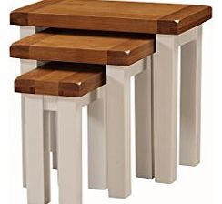 Alba Oak Nest of Tables Set of 3 Finish : Oak / White Luxurious Stone Painted Finish - Living Room Furniture