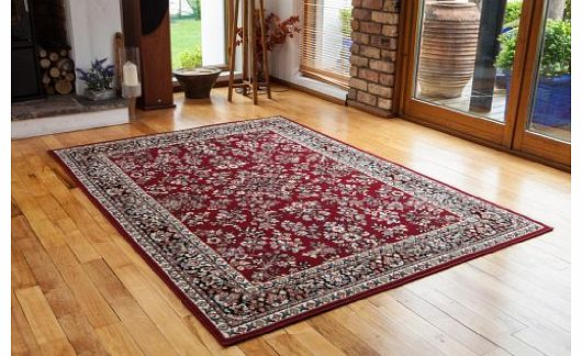 Antique Wine Red Patterned Border Design Rug - 4 Sizes Available