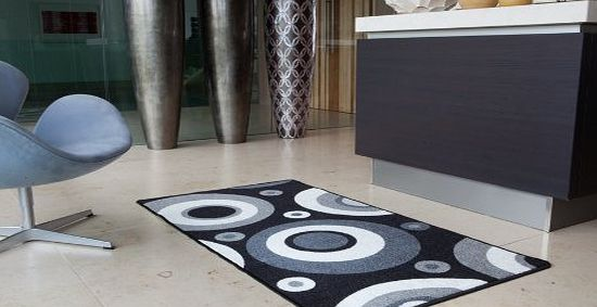 Lapina Black - Black and White Retro Non Shed Affordable Anti Slip Hallway Runner Rug Luna - 8 sizes available