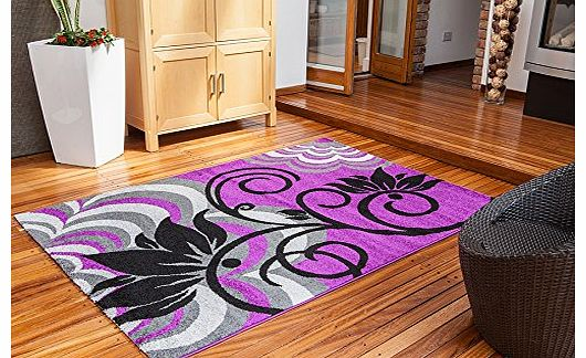 Modern Luxury Soft Montego Purple & Black Floral Motif Lounge Rug - 3 Sizes Available