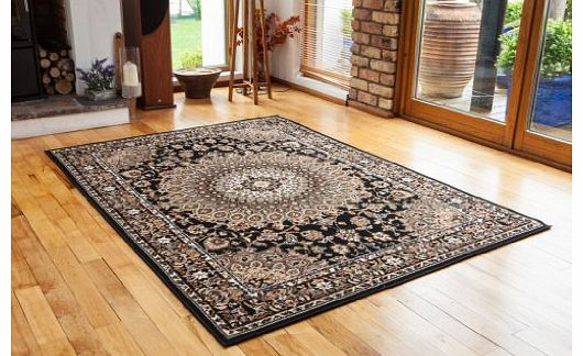 Quality Black Beige Traditional Border Design Area Rug - 4 Sizes Available