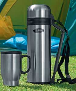 1.8L Stainless Steel Flask with Mug