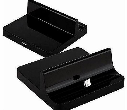 Premium Micro USB Compatible Desktop Charging Dock Stand With Data / Sync Cable For Nokia Lumia 520 Mobile Phone - Black