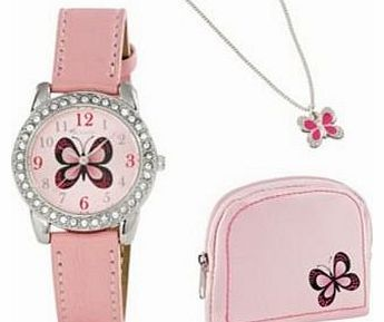 Pink Butterfly Purse, Necklace and Watch Set.