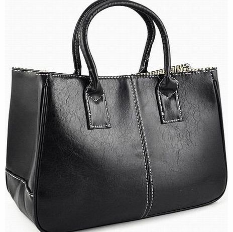Woman Celebrity Vintage Ladies PU Leather Satchels Tote Purse Bag Handbag (Black)