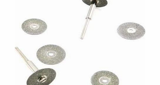 Toolzone 6Pc Diamond Coated Mini Cutting Disc Wheels for Hobby Drills
