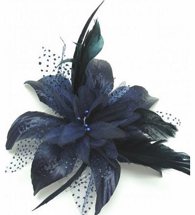 Top Brand Navy Blue Chiffon Flower and Feather Fascinator. Ideal Weddings,Races,etc