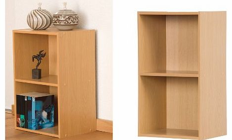 2 Tier Wooden Bookcase Storage Shelving Unit