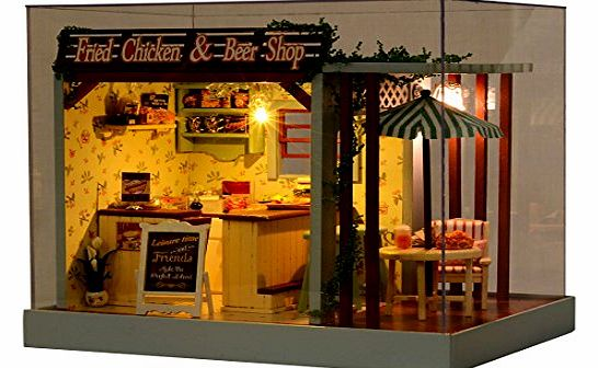 Fried Chicken & Beer Shop Dolls House With Furniture and Doll Family + LED Light + Music