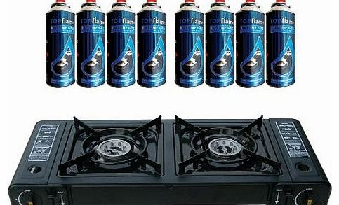 Dual Burner Double Hob Camping Gas Stove Cooker + 8 Gas Refills