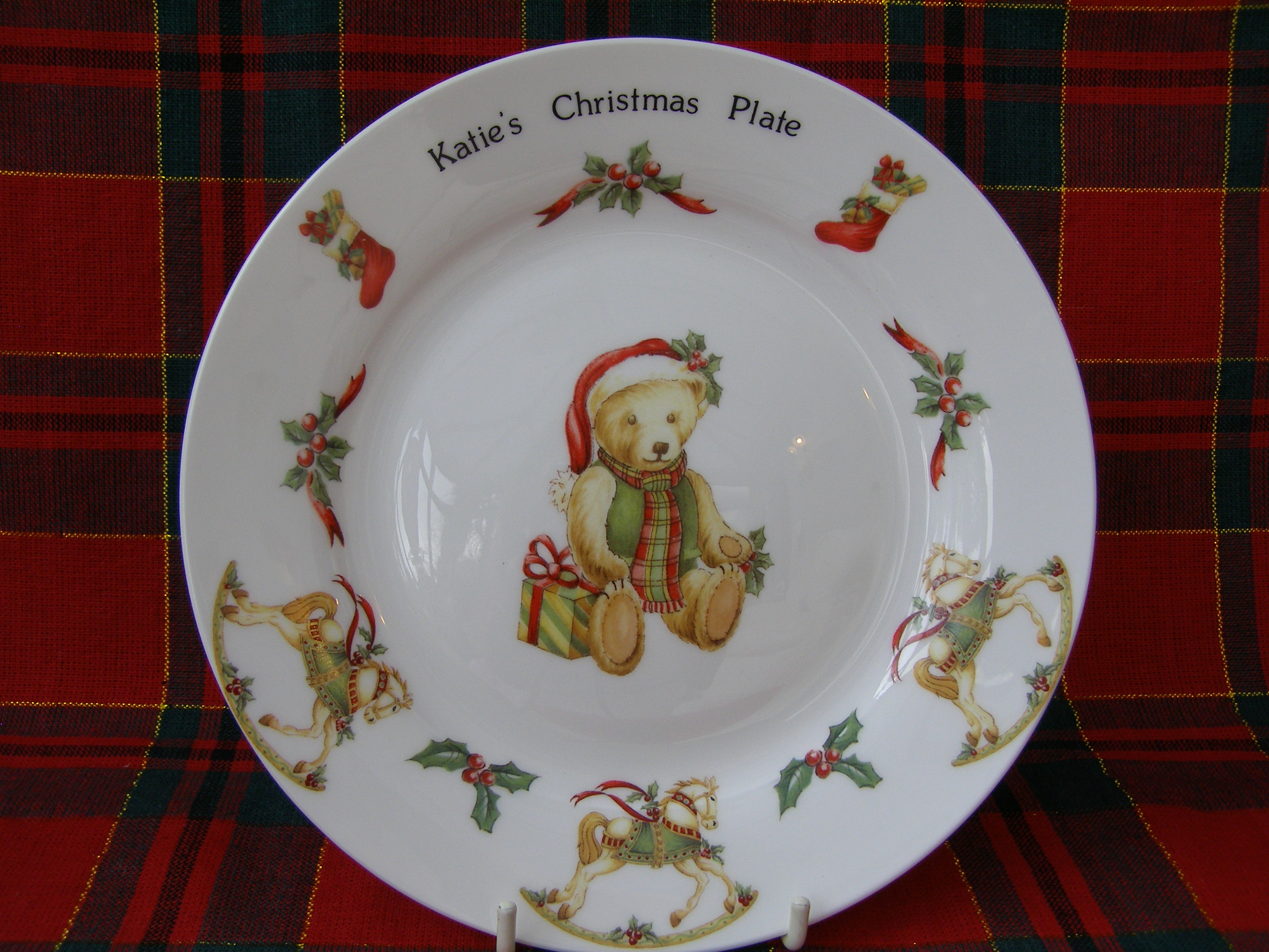 Christmas Teddy Bear Personalised Plate