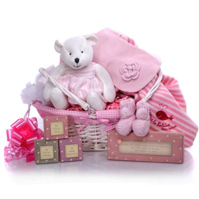 Traditional Knitted Pink Baby Hamper