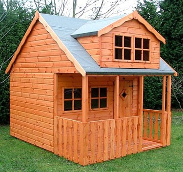 Wooden playhouses shed plans free 12x12 personal storage for Wooden playhouse with garage