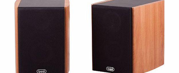 Trevi AV 540 Home Cinema 80W Bookshelf Active Speaker with Magnetic Shielding in Wood Case. Suitable for TVs, Stereos, PCs, Laptops etc