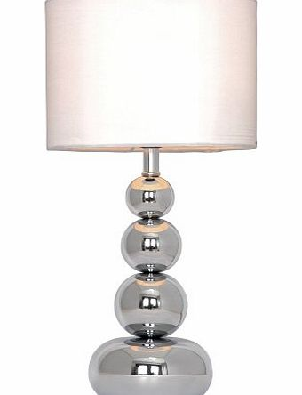 Chrome Stacked Balls Touch Table Lamp With White Faux Silk Shade (1 X Max 40w Ses Golf Ball Bulb)