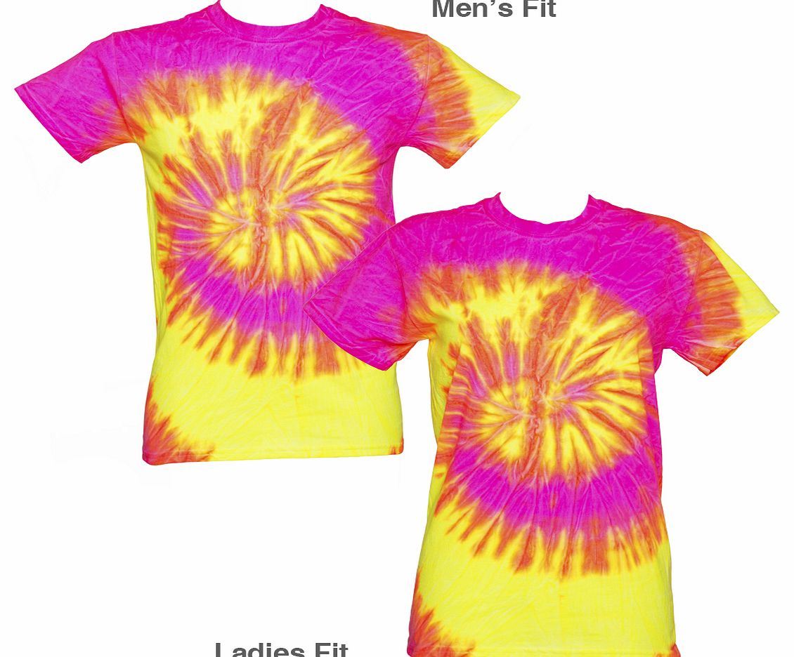 Unisex Fluoro Pink and Yellow Tie Dye T-Shirt