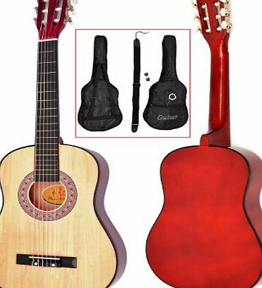ts-ideen 5257 Childrens Acoustic Guitar 1/2-Size for Age 6 to 9 Years with Guitar Case / Strap / Replacement Strings / natural Brown
