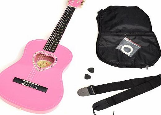ts-ideen 5260 Childrens 1/2 Size Acoustic Guitar with Heart-Shaped Sound Hole / Case / Plectrum / Strings / Strap Pink