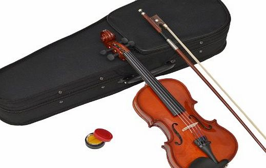 ts-ideen Childrens 1/16-Size Violin - Maple - For Age 3-4 Years - In Set with Shaped Case, Rosin and Horsehair Bow