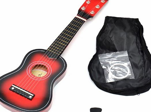 ts-ideen Childs Guitar Wooden for Ages 3 and Above with Bag and Replacement Strings 54 cm Red