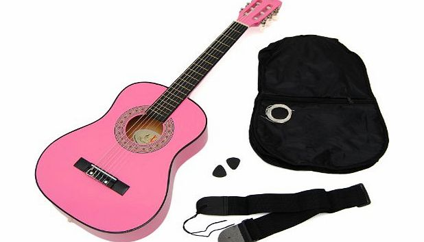 ts-ideen  5251 Childrens Guitar 1/4 Acoustic Guitar for 4-7 Years with Bag and Belt / Strings / Plectrum Pink