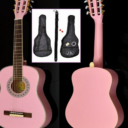 ts-ideen  5288 - 1/2-Size Childrens Acoustic Classical Guitar for Age 6 - 9 Years - Pink - With Accessory Set Including Padded Guitar Car, Strap, Strings, Pitch Pipe and 2 Plectra