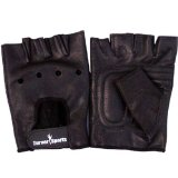 Full Leather Weight Lifting Training Gloves Black Body Building Glove Large