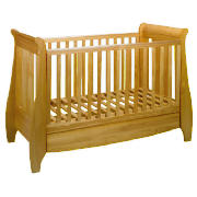 Lucas Dropside Sleigh Cot Bed, Oak