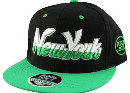 King Ice Snapback Hat Flat Peak Adult Adjustable Baseball Cap New York NY Script Half in Black and Green