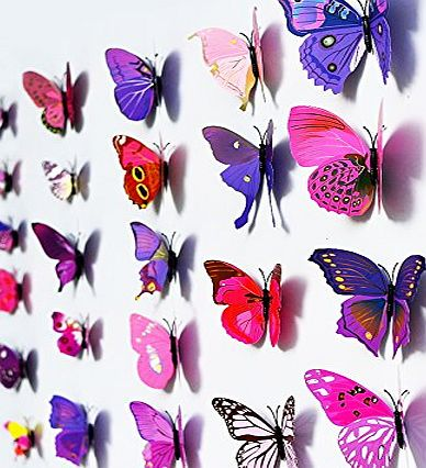 12 Pcs 3D Butterfly Purple Stickers Making Stickers Wall Stickers Crafts Butterflies