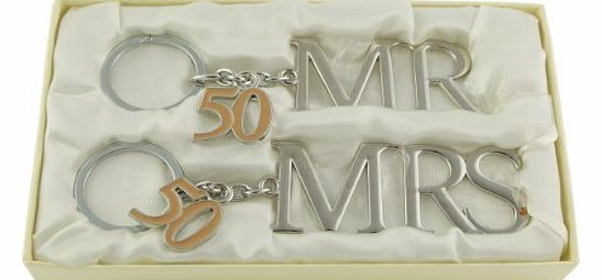 Silver Plated Mr & Mrs Keyring 50th Golden Wedding Anniversary Gift