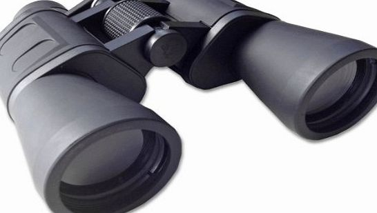 Serious user 10x50 binoculars with fully coated optics for all uses including birdwatching, astronomy, sports and wildlife. 10 x 50 high power magnification. Comes with case, lens caps, strap, cloth a