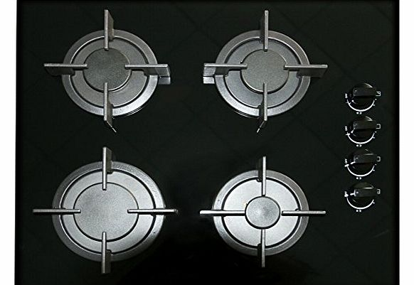 Unique GG604 600mm 4 Burner Built-in Black Ceramic Glass Gas Hob with Flame Failure Device